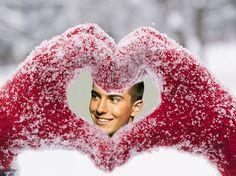 Montajes de Fotos con Corazones Nevados. #amor #corazonesnevados #corazones #love