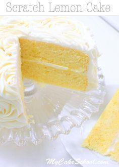 Lemon Cake {A Scratch Recipe} . This moist scratch Lemon Cake Recipe is a heavenly combination of lemon cake, lemon curd filling, and lemon cream cheese Lemon Desserts, Lemon Recipes, Just Desserts, Baking Recipes, Delicious Desserts, Dessert Recipes, Best Lemon Cake Recipe, Homemade Lemon Cake, Easy Lemon Cake
