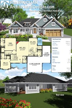 Enjoy one-level living with Architectural Designs Craftsman-Inspired 2 Bed Ranch Home Plan 890017AH. It gives you over 1,900 square feet of heated living space and an open concept floor plan. Ready when you are. Where do YOU want to build?