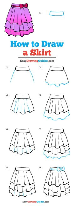 skizzen zeichnen How to Draw a Skirt - Really Easy Drawing Tutorial Easy Drawing Tutorial, Fashion Drawing Tutorial, Drawing Tutorials For Kids, Sketches Tutorial, Drawing For Kids, Skirt Tutorial, Clothes Design Drawing, Fashion Design Drawings, How To Draw Steps