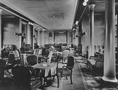 The Second Class Gesellschaftshalle (Social Hall-Lounge) of the steamship Europa, consort flagship of the Norddeutscher Lloyd (North German Lloyd). 1930. Image courtesy the private collection of John Cunard-Shutter.