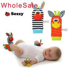 Bebé SOZZY juguete del bebé sonajeros juguetes animales calcetines correa para la muñeca con sonajero bebé calcetines pie Bug correa para la muñeca(China (Mainland))