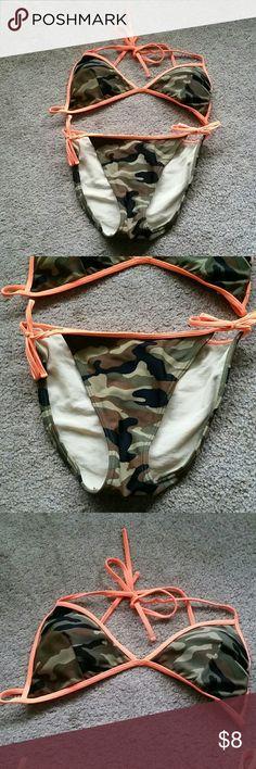 Camo bikini Lightly padded string bikini worn for only 1 summer. Neon orange & camo. I bundle & trade Extreme Swim Bikinis