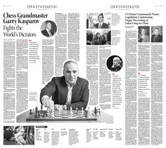 Chess Grandmaster Garry Kasparov Fights the World's Dictators|Epoch Times #newspaper #editorialdesign