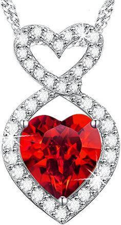 Amazon.com: Mothers Day Gift Anniversary Gifts for Her for wife Red Garnet Infinity Heart Necklace Sterling Silver Pendant Jewelry: Jewelry