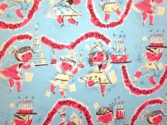 Vintage Wrapping Paper  Banner Birthday Gift by TillaHomestead