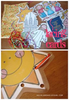 easy lacing cards--perfect kids activity great easter present Easter Activities For Toddlers, Toddler Crafts, Crafts For Kids, Children Activities, Lacing Cards, Card Book, Church Crafts, Baby Games, Preschool Learning