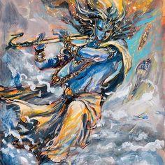 "Artist: Abhishek Singh ""Let love be a moving sea between the shores of your souls"" Khalil Gibran Krishna Flute, Krishna Radha, Lord Krishna, Lord Shiva, Shiva Art, Shiva Shakti, Hindu Art, Indian Gods, Indian Art"