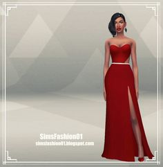 Long Dress with Slit at Sims Fashion01 via Sims 4 Updates
