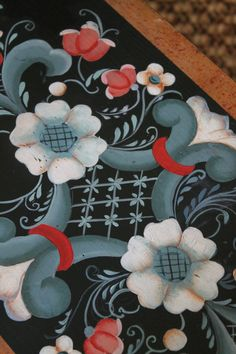 Rosemaling detail on a step stool