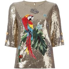 Dolce & Gabbana sequinned top ($4,405) ❤ liked on Polyvore featuring tops, grey, round neck top, multi color tops, colorful tops, half sleeve tops and keyhole top