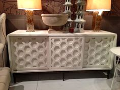 How incredible is the Wilhelm Cabinet, show in a smooth gesso finish with an aged brass base?!  This versatile piece works as a sideboard or media cabinet.  The honeycomb-styled doors slide (instead of swing open) so it is perfect for tight spaces or those in which you need to preserve a walkway.  It's extremely difficult to find sliding door cabinets these days, and this one is stunning.  In my house, my twins' toys and games would hide behind the doors! Mr. Brown (IHFC Interhall 102)…