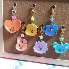 Matte Iridescent Keychain charms Dimensions: Height: to (depending on which member) Width: to cm Thickness: Disclaimer: These are handmade by me, though I do try to ensure its perfection do allow some blemishes here and there. Kpop Diy, Resin Charms, Line Friends, Kpop Merch, Resin Jewelry, Resin Art, Bts Wallpaper, Key Rings, Iridescent