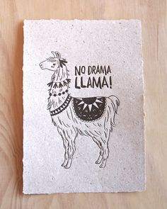 Llama letterpress print fine art print animal illustration No drama llama, hand made llama poo paper,  in gold or black WA Collaboration