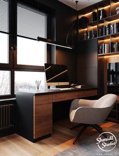 Gennady Shmidt on Behance – home office design layout Workspace Design, Office Interior Design, Office Interiors, Modern Office Design, Small Office Design, Home Office Setup, Home Office Space, Office Ideas, Loft Office
