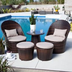 narrow balcony Furnitures : Wonderful Ideas For Condo Balcony Furniture Along With Unique Wicker Furniture Sets With White Covers Around Swimming Pool Together With Glass Cup On Round W Outdoor Balcony Furniture, Small Patio Furniture, Balcony Chairs, Wicker Furniture, Outdoor Rooms, Garden Furniture, Furniture Ideas, Furniture Layout, Condo Balcony