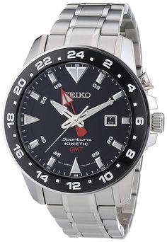 Seiko Sportura Kinetic Mens Wristwatch Second Time Zone Timex Watches, Big Watches, Seiko Watches, Sport Watches, Cool Watches, Wrist Watches, Daniel Wellington, Seiko Sportura, Tommy Hilfiger