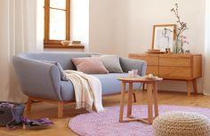 Sofa Livia, B 194 x T 98 x H 72 cm, Sitzhöhe 43 cm / Sitztiefe 70 cm, Bezug Wollstoff Tartini Taubenblau