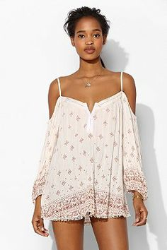Ecote Cold Shoulder Peasant Blouse- urban outfitters