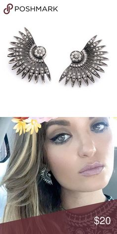Crystal Pave Fan Earrings These might be my favorite item in my closet :) I have a pair and wear them all the time! That would be me in the above photo ✨ Super elegant, Pave Crystal Gunmetal Fan Earrings, Asian Inspired! Brand new and comes gift packaged! Brie + Coco Jewelry Earrings