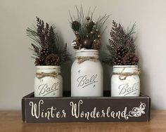 Mason Jar Christmas Centerpiece - Winter Wonderland - Holiday Table Decor....12 Phrases to choose from - pick your favorite from the drop down menu at checkout, its as easy as that! On its way in 5-7 business days, packaged with care! Included in this listing: 2 pint painted/distressed/matte clear coat mason jars--light khank--twine bows 1 quart painted/distressed/matte clear coat mason jar--milk chocolate--twine bow Winter Floral Mix for each mason jar as shown in photos ...