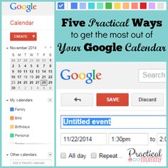 Using a Google calendar is a very simple way to stay organized as a mommy. Your Google calendar is connected to your Gmail account and can be accessed on your phone, your tablet and your computer.