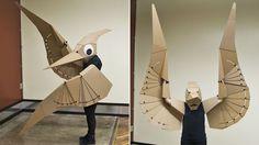 Cardboard pterodactyl costume. Dem wings doe.