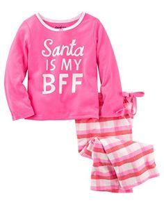 b1fbb13495 OshKsoh B gosh Little Girls  2 Piece Santa Neon Pajamas