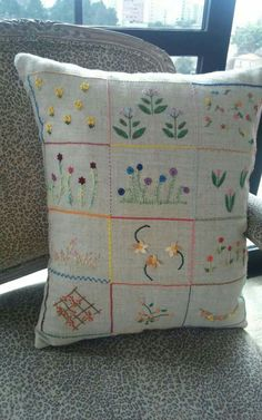 Pillow Talk, Embroidered Flowers, Hand Embroidery, Delicate, Cushions, Throw Pillows, Stitch, Purses, Bags