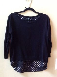 Nwt Ralph Lauren Women Multi-color Cotton/Poly Long Sleeve 2fer Sweatshirt Sz S #LaurenRalphLauren #Crewneck