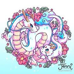 (A commission sketch design that was unwanted. So I repurposed it and changed a few things for myself lol) . Cute Kawaii Animals, Cute Animal Drawings Kawaii, Kawaii Art, Cute Fantasy Creatures, Studio Ghibli Art, Imagenes My Little Pony, Cute Dragons, Anime Animals, Sketch Design