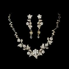 Swarovski Crystal Floral Bridal Jewelry Set Gold Clear-ladies, woman, women, women's, jewelry, necklaces, wedding, bridal, special occasion, event, prom, evening, black tie, fancy, bridesmaid, crystal necklace, cubic zirconia, pearl, pearl necklace, pearl back necklace, budget jewelry, on sale, bridal sale, necklace sale, under $100.00, under $100, allyson james,  #allysonjames831, @allysonjames831,