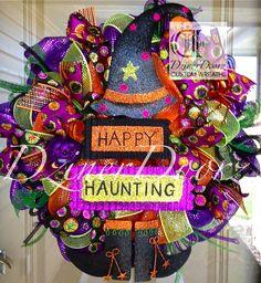 Happy+Haunting+Witch+Halloween+deco+mesh+Wreath+by+DzinerDoorz,+$105.00