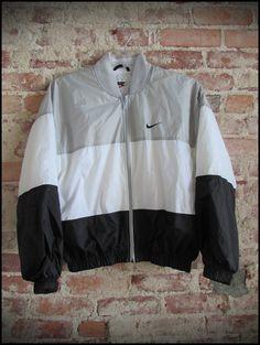 Vintage 90's Nike Silver and Black Zip Up Jacket  by RackRaidersVintage
