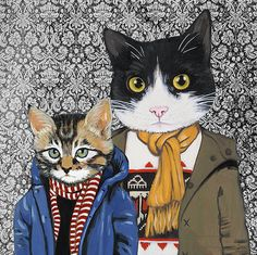 Retrato de familia III  gatos ropa  impresión del arte fino