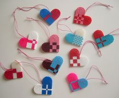 DIY; I Heart It Danglers made from Perler Hama Beads. Design  from it's a heart heart season
