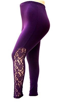 a85d059fded JK55 Womens Plus Size Leggings PANTS with Elegant Lace Panel Made in USA  1X-3X