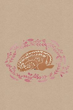 baby deer with white spots. kraft paper background, pink flowers, illustration