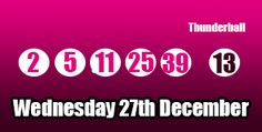 Here are tonight's #thunderball results, sadly no jackpot winners, read more about the draw here: http://thunderballresults.org/thunderball-results-27th-december/ #lottery