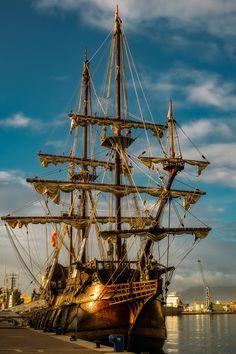 El Galeon - 17th Century Spanish Galleon Replica in Malaga port, Spain.