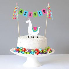 Personalized Llama Birthday Cake Topper - Options for Name Cake Topper and separate llama topper - Llama cupcake cake - Llama Birthday, 12th Birthday, Birthday Parties, Girl Birthday, Salty Cake, Birthday Cake Toppers, Cake Birthday, Round Cakes, Savoury Cake