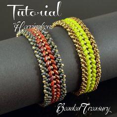 de693cbebc Beading Tutorial HERRINGBONE Bracelet - Beading pattern with Superduo seed  beads - Instant PDF Download