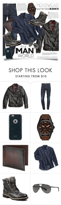 """""""Wardrobe Basics: Menswear"""" by danielle-broekhuizen ❤ liked on Polyvore featuring Lucky Brand, Dsquared2, Moshi, FOSSIL, Saks Fifth Avenue Collection, Levi's, Anja, Dolce&Gabbana, mens and men"""