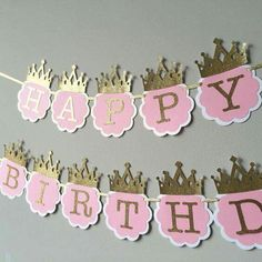 make your little princesss pink and gold birthday party even sparklier with this charming happy birthday banner each double layered circle is