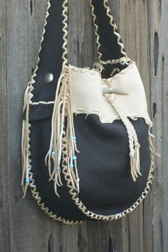 Love this bag. Want.    Cowgirl handbag Buckskin leather tote Fringed by thunderrose, $149.60