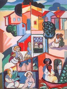 City - (Oil on canvas) - Cicero Dias.