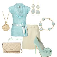 """""""Light Blue & Cream"""" by jklmnodavis on Polyvore....don't care for the thick soled shoes but adore the color"""