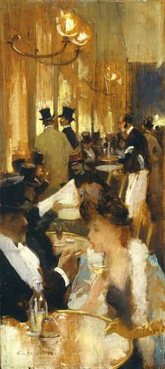 In The Cafe...Willard Metcalf the use of colors to create the atmosphere in this painting is exquisite!