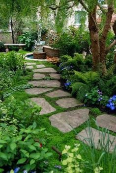 Moss ground cover between slate pavers.