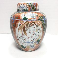Andrea by Sadek Pheasants Flowers Brillant Colors Ginger Jar Japan #AndreabySadek